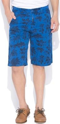 Status Quo Printed Men's Dark Blue Basic Shorts