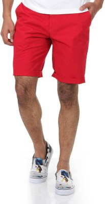 Shapes Solid Men's Red Chino Shorts