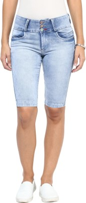 GOFAB Self Design Women's Light Blue Denim Shorts
