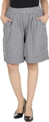 Eves Pret A Porter Checkered Women's Black Culotte Shorts