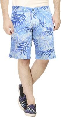 Dolce Hugo Printed Men's Blue Basic Shorts, Beach Shorts