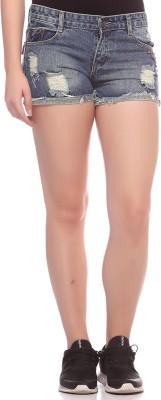 Fasnoya Self Design Women,s Denim Grey, Green Denim Shorts
