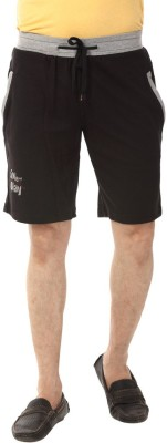 YOO Solid Men's Black Basic Shorts