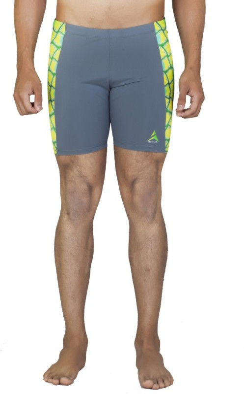 Attiva Solid Men's Grey Swim Shorts