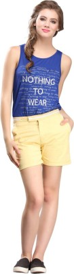 Nineteen Solid Women's Yellow Basic Shorts