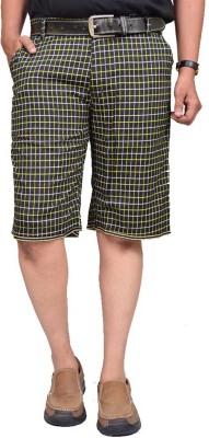 British Terminal Checkered Men,s Yellow Bermuda Shorts