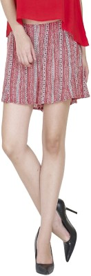 9onnine Printed Women's Red Cargo Shorts