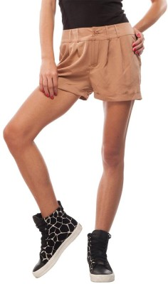 Orous Solid Women,s Brown Basic Shorts