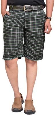 British Terminal Checkered Men,s Green Bermuda Shorts