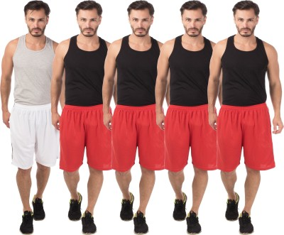Meebaw Self Design Men,s White, Red, Red, Red, Red Sports Shorts