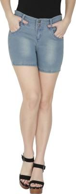 NJs Solid Women's Blue Denim Shorts, Basic Shorts