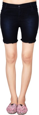 Jiya Solid Women,s Blue Denim Shorts