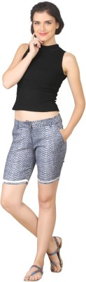 True Fashion Animal Print Women's Denim Blue Denim Shorts