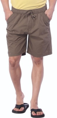 Bornfree Solid Men's Brown Bermuda Shorts