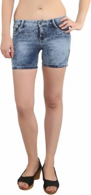 Bat Solid Women's Light Blue Denim Shorts