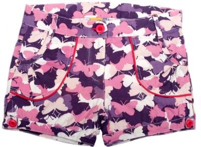 Cub Printed Girl's Purple, Pink Hotpants