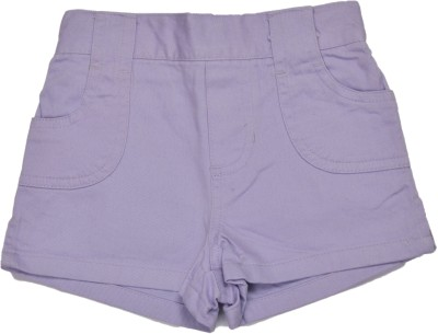 Bio Kid Solid Baby Girl's Purple Cargo Shorts