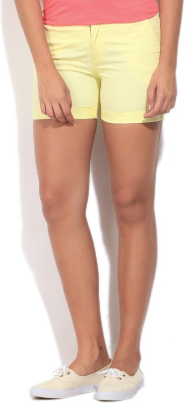 United Colors of Benetton Solid Women's Yellow Basic Shorts