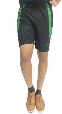 London Eye Solid Men's Black, Green Sports Shorts