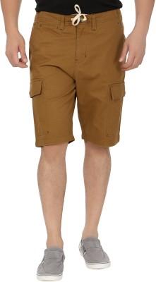 Blimey Solid Men's Brown, Beige Cargo Shorts