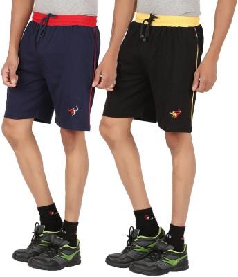 Meril Solid Men,s Black, Dark Blue Sports Shorts