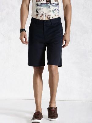 Roadster Solid Men's Dark Blue Basic Shorts