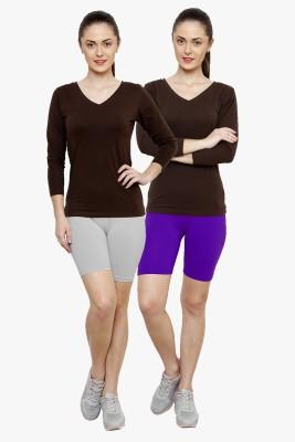 Softrose Solid Women's Grey, Purple Cycling Shorts