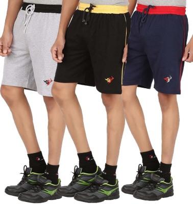 Meril Solid Men,s Grey, Black, Dark Blue Sports Shorts