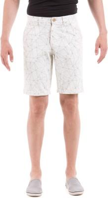 Shuffle Printed Men's White Basic Shorts