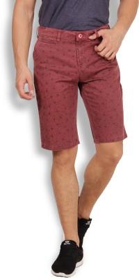 I-Voc Printed Men's Maroon Chino Shorts