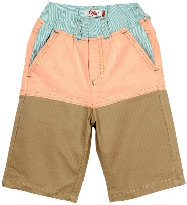 Oye Self Design Boy's Beige, Orange Basic Shorts