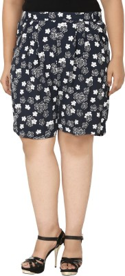 Eves Pret A Porter Floral Print Women's Dark Blue, White Basic Shorts