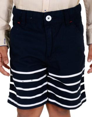 Biker Boys Striped Boy's Blue Basic Shorts