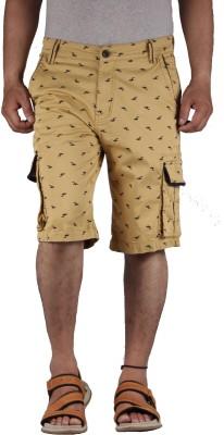 FBM Self Design Men's Beige Cargo Shorts