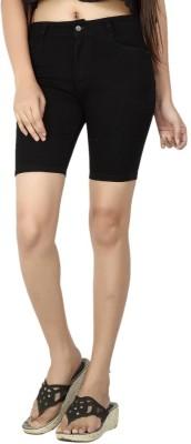 FCK-3 Solid Women's Black Denim Shorts