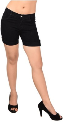 Ganga Solid Women's Denim Black Denim Shorts