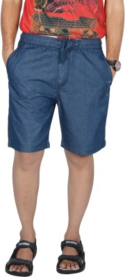Mountain Colours Solid Men's Blue Denim Shorts