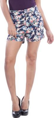 TrendBAE Floral Print Women's Dark Blue Basic Shorts