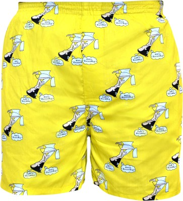 Gee & Bee Printed Men's Yellow Basic Shorts