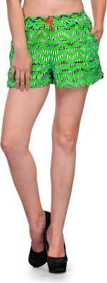 Zachi Printed Women's Black, Green Basic Shorts
