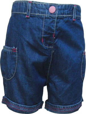 Tales & Stories Solid Girl's Denim Dark Blue Basic Shorts
