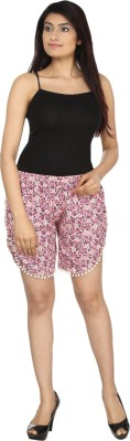 You Floral Print Women's Pink, Beige Night Shorts