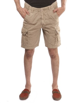 Again Solid Men's Gold Cargo Shorts