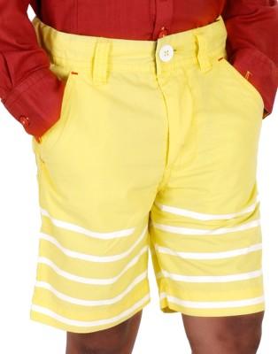 Biker Boys Striped Boy's Yellow Basic Shorts