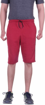 Lluminati Solid Men's Maroon Basic Shorts