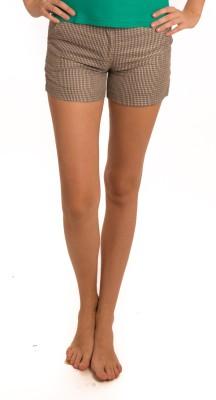 Bombay High Checkered Women's Brown Basic Shorts