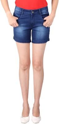 FCK-3 Solid Women's Blue Denim Shorts