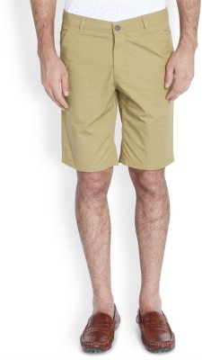 Parx Solid Men's Beige Basic Shorts