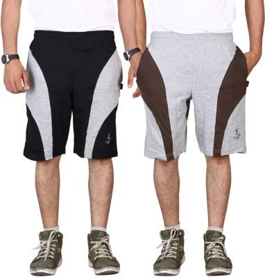 Vego Self Design Men,s Black Bermuda Shorts