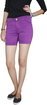 Fungus Solid Women's Purple Denim Shorts